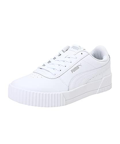 PUMA Damen Carina L Sneaker, White White Silver, 38 EU