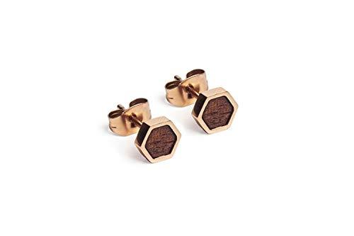 BeWooden Ohrstecker aus Holz   Hexagon Collection   Schmuck für Junge Frauen   außergewöhnliche Geschenke für Naturfreunde & Holzliebhaber