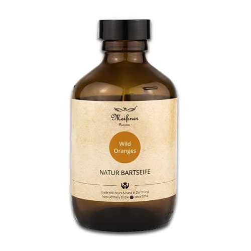 Meißner Tremonia Natur Bartseife auf der Basis von Bio Olivenöl extra nativ, Bio Kokosöl, Bio Glycerin und naturreinen, ätherischen Ölen für Ihren Bart/Ihre Bartpflege – 200ml (Wild Oranges)