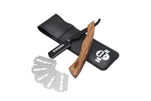 Heldenheim® R1 Rasiermesser aus Rosenholz mit 5 Wechselklingen, Etui, Anleitung und eBook | Rasur Set