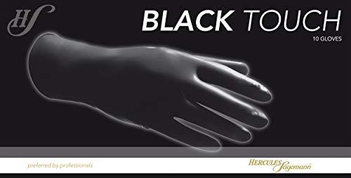 Hercules Sägemann Spezial-Schutz-Handschuhe für Friseure Black Touch Größe M, 10 Stück 100% Natur-Latex
