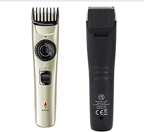 HTDHS Haarschneider für Männer Hair Clipper - elektrische Fade Haarschneider Set Edelstahl-Klinge einstellbar mit Maßstab mit 2 Führer Kamm, USB-Aufladung für Salon, persönliche Verwendung für Männer,