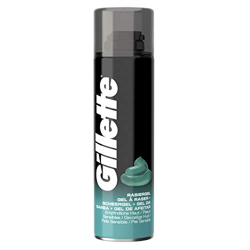 Gillette Basis Rasiergel Männer, 6er Pack (6 x 200 ml), für empfindliche Haut
