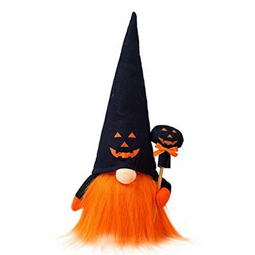 Wolfberrymetal Halloween Sitzende leuchtende Puppe Gesichtslos Rudolph Alter Mann Bartschmuck Halloween Dekoration für Zuhause