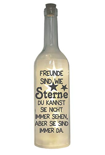 WB wohn trends LED-Flasche mit Motiv, Freunde sind wie Sterne, grau, 29cm, Flaschen-Licht Lampe mit Text...
