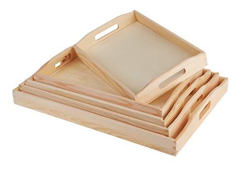 VBS Holztablett-Set 5 Stück verschiedene Größen Tablett Serviertablett Dekotablett Küchentablett Servieren Serviettentechnik Décopatch Brandmalen
