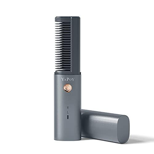 YAPOY Haarglätter Bürste Kabellos mit 2600mAh Akku Glättbürste Glätteisen mit Hitzeschutz, einstellbarer Temperatur, Metallbeschichtete Zähne und Auto-Shut off Funktion für Damen und Frauen Grau