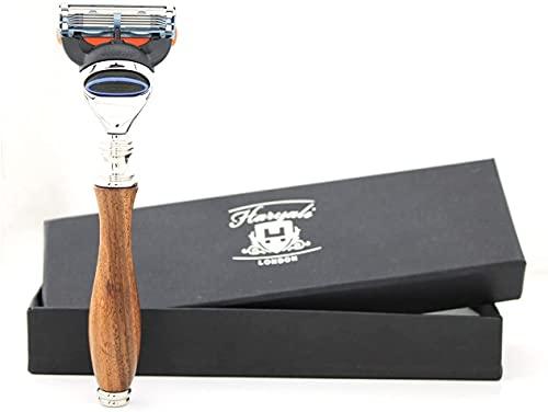 Haryali London Langes & ergonomisches Design Holzgriff Rasiermesser für Herren – 5 Klingen Rasierer – Holzrasierer Herren