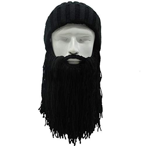 Demarkt Wikinger Piraten Cosplay Bartmütze Lustige Strickmütze mit Abnehmbarem Vollbart Maske