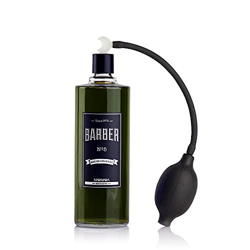BARBER MARMARA No.5 Eau de Cologne Herren mit Ballpumpe Zerstäuber im Glas Flacon 1x 500ml - After Shave Men - Duftwasser - Rasierwasser Männer - Erfrischt kühlt - Barbershop Spray - Body Spray