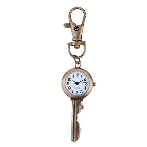 UKCOCO Schlüsselanhänger Uhr Retro Analog Quarz Clip Fob Uhr Taschenuhr Anhänger Paar Uhr Hängen Geschenke für Schüler Mitarbeiter