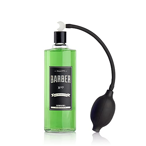 BARBER MARMARA No.7 Eau de Cologne Herren mit Ballpumpe Zerstäuber im Glas Flacon 1x 500ml - After Shave Men - Duftwasser - Rasierwasser Männer - Erfrischt kühlt - Barbershop Spray - Body Spray
