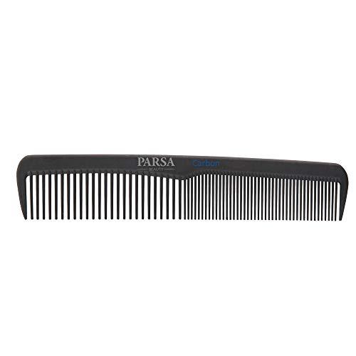 PARSA BEAUTY Universal-Haar-Kamm/Bartkamm 15 cm, antistatisch aus Carbon mit 2 Zahnungen fein & grob kompakter Karbon-Kamm für unterweg hergestellt
