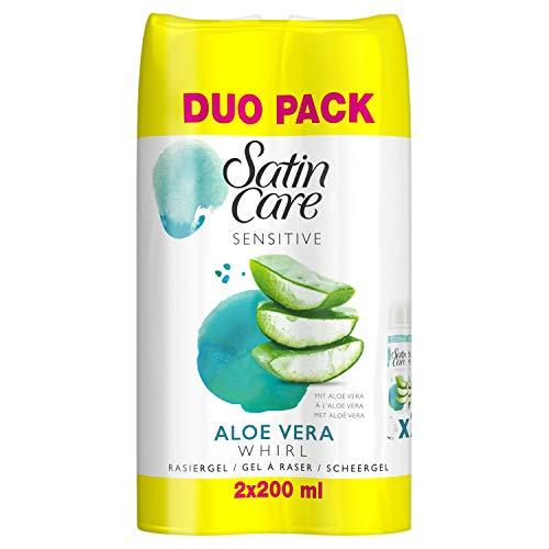 Gillette Venus Satin Care Rasiergel Damen, 2er Pack (2 x 200 ml), mit Aloe Vera für empfindliche Haut