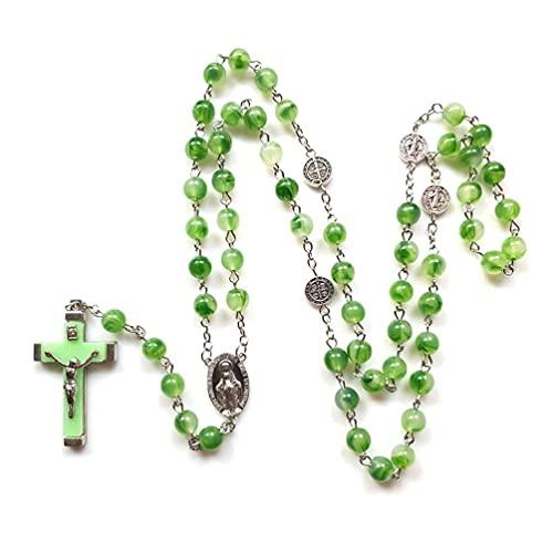 WT-DDJJK Rosenkranz Perlen Leuchtende Nachtleuchtende Halskette Katholizismus Religiöses Geschenk Gebet Leuchten im Dunkeln Rosenkranz