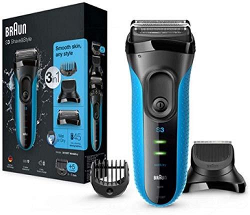 Braun Series 3 3-in-1-Elektrorasierer, Barttrimmer mit 5 Kammaufsätzen, Wet&Dry, 30 Minuten Akkulaufzeit,...