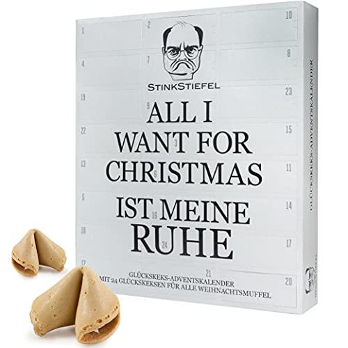Food Crew Adventskalender 2021 Glückskekse Stinkstiefel - 24 Sprüche als Geschenk für Weihnachtsmuffel - Made in Germany