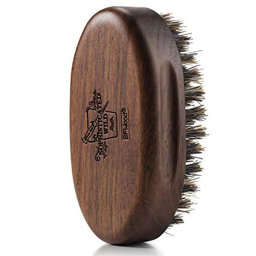 BFWood Kleine Bartbürste im Taschenformat - Natürliche Wildschweinborsten mit Schwarznussholz