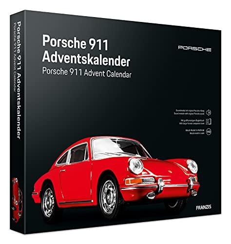 FRANZIS 55199 - Porsche 911 rot Adventskalender 2021 - in 24 Schritten zum Porsche 911 unterm Weihnachtsbaum, Fahrzeugbausatz 1:43, Kunststoffpodest mit integriertem Soundmodul, empfohlen ab 14 Jahren
