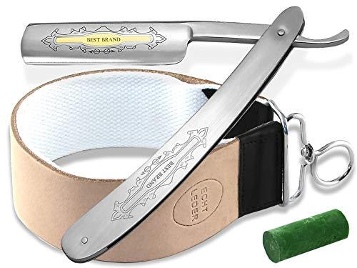 Geschenk Set Rasiermesser Set Paste aus Solingen mit Profi Kombi Streichriemen aus Leder Baumwolle und einem Edelstahl Rasiermesser von InstrumenteNrw mit Sitz in Deutschland