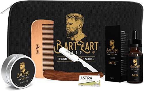 BartZart Bartpflege Set mit Rasiermesser I hochwertigem Bartöl I natürlichem Bartwachs I Bartkamm aus Holz I...