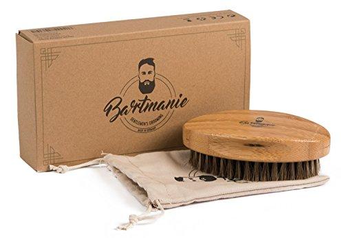 Bartmanie Bartbürste aus edlem Holz und Pferde Echthaarborsten für perfekte Bartpflege, Bartstyling Bürste...