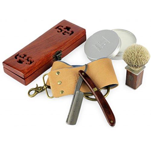 A.P. Donovan - Luxus 7/8' Rasiermesser mit Damast-Klinge und Mahagoni Holzgriff (inkl. Rasierseife,...