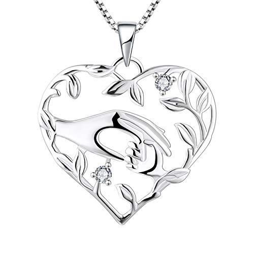 YL Mama Kette 925 Sterling Silber April Geburtsstein Weiß Zirkonia Mutter halten Kinderhand Anhänger Halskette Geschenke für Mama
