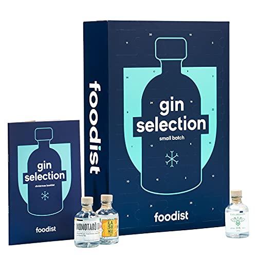 Foodist Gin Adventskalender 2021 mit exklusivem Gins - ausgefallenes Geschenk-Set mit 24 x 50ml Miniaturflaschen inkl. Cocktailrezepte und Tasting - Anleitung Geschenk für Männer und Frauen