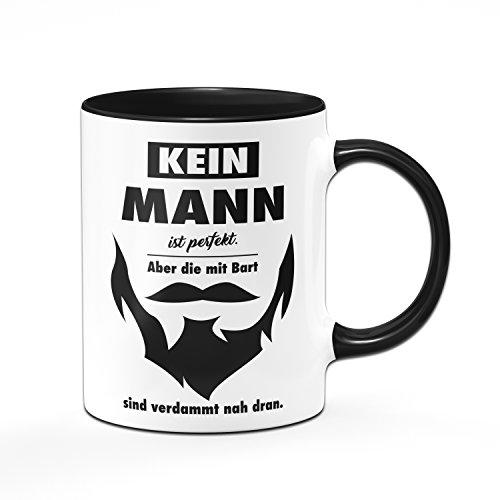 Tassenbrennerei Tasse Kein Mann ist perfekt. Aber die mit Bart sind verdammt nah dran - Geschenk für Männer,...