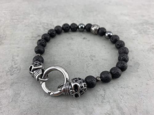 schwarzes Armband mit Verschluss black Onyx oder Lavaperlen Lavasteine mit Skull Totenkopf Schädel Edelstahl...