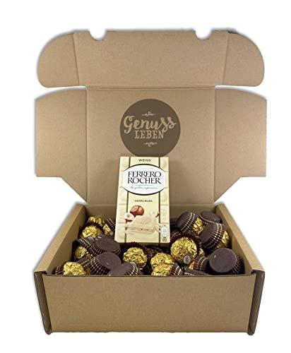 Genussleben Geschenkbox Ferrero Rocher Box 64 Stück und 1 Ferrero Rocher Tafelschokolade white Großpackung, sowie Jelly Beans von Genussleben