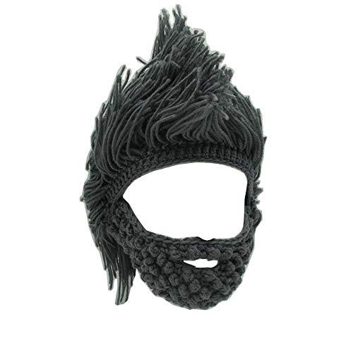 Metyou Perücke, Bartmütze, handgefertigt, gestrickt, warm, Wintermütze, Skimütze, für Damen und Herren...