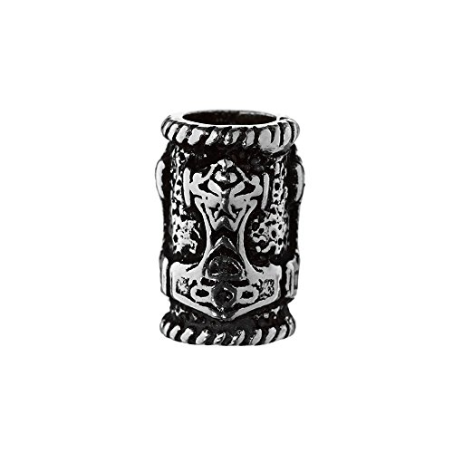 NKlaus Wikinger Haarschmuck Bartperle Thorhammer 925 Sterlingsilber Silber Lockenperle 6452
