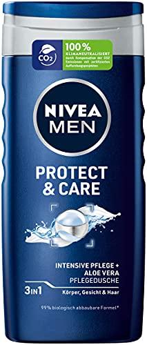 NIVEA MEN Protect & Care Pflegedusche (250 ml), feuchtigkeitsspendendes Duschgel mit Aloe Vera, milde Dusche für eine maskulin gepflegte Haut