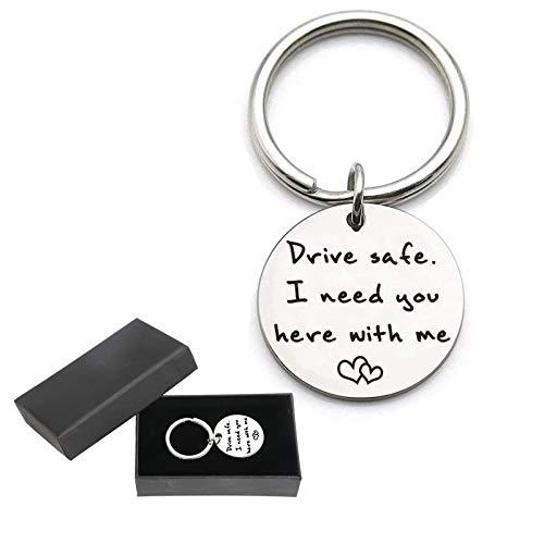 EDATOFLY Drive Safe - Schlüsselanhänger aus Edelstahl Schlüsselbund Personalisierte Kreative Schlüsselring...