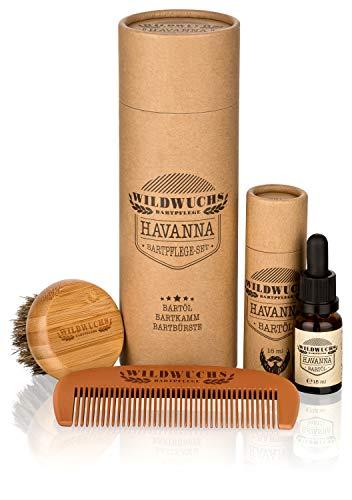 Bartpflege Set für Männer Bartpflegeset hochwertig HAVANNA Essentials von Wildwuchs Bartpflege (3-teilig)