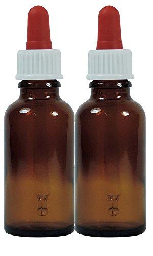 Viva Haushaltswaren #58244# 2 x Pipettenflasche 30 ml aus Braunglas, kleine Glasgefäße als Apothekerflaschen...