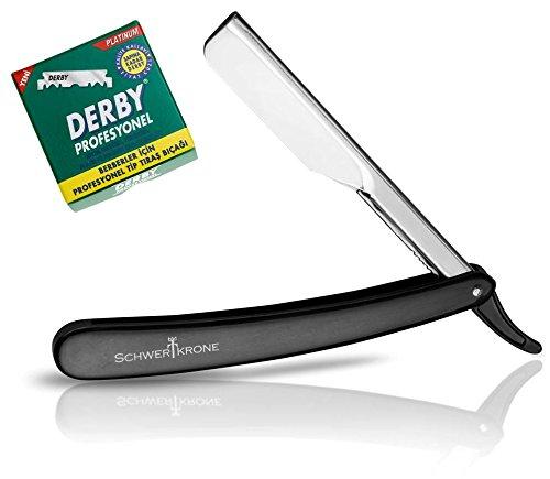 Schwertkrone Basic Rasiermesser Wechselklingen mit 100 Derby Rasierklingen Rasier-Set