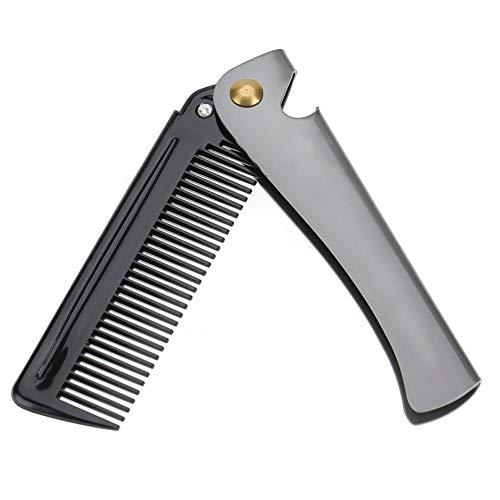 Klappbarer Bartkamm, runder Kamm aus rostfreiem Stahl Zähne Kamm Klapptasche Schnurrbart-Formkamm für den...