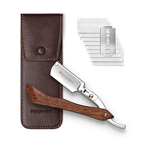 Störtebekker® Rasiermesser mit Holzgriff im handgefertigten Lederetui inkl. Alaunstift - inkl. Rasurguide[10...