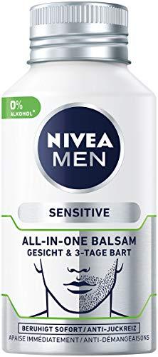 Nivea Men Sensitive All-In-One Balsam Gesicht & 3-Tage Bart, 1er Pack (1 x 125 ml), beruhigende...