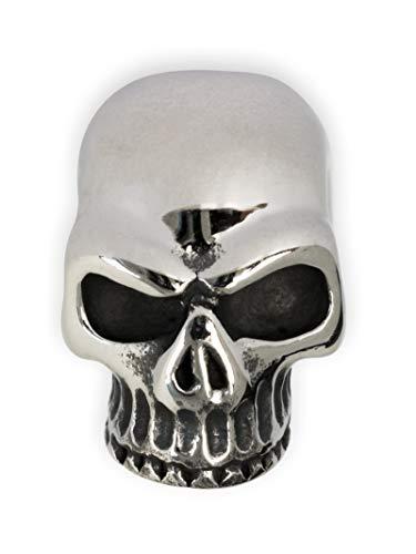 Fly Style Totenkopf Bartperle aus Edelstahl · Bartschmuck im Keith Richards Stil · Innendurchmesser 5mm