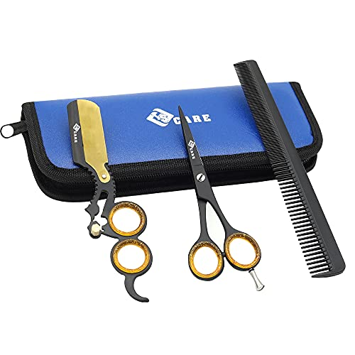 YSCARE Rasiermesser Set Rasier Messer für präzise Bart Doppelt-Finger-Ring-Schwarz-Rasiermesser-Friseur Straight Cut Throat - Hochwertiges Edelstahl Beard Schere mit Kamm Kit