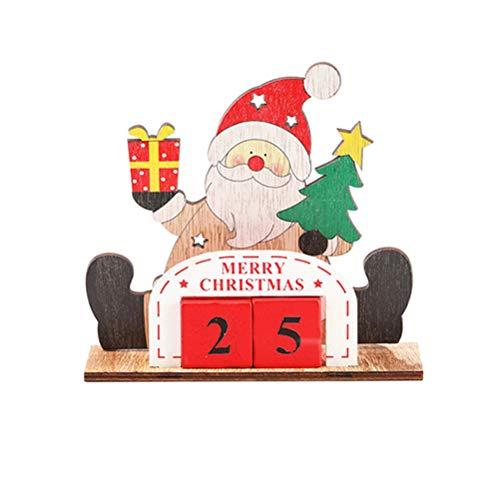Vcedas Weihnachts Countdown Kalender, Weihnachtsmann Schneemann Elch Kalender Cartoon Adventskalender Holz Countdown Würfel Würfelkalender Dauerkalender Holzblock DIY Handwerk Tischplatte Ornamente