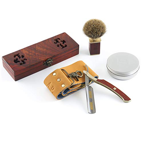 """A.P. Donovan – 5/8"""" Rasiermesser aus Solingen   mit Goldätzung   Bartpflege für Männer (Rasiermesser, Streichriemen, Pinsel + Seife)"""