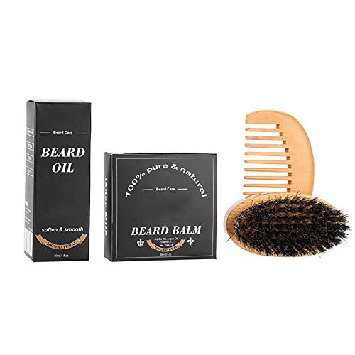 Bartkamm-Set, Gesundes Bartöl-Set Langlebiges Herren-Bartpflege-Set für den täglichen Gebrauch zur Schnurrbart-Pflege für zu Hause