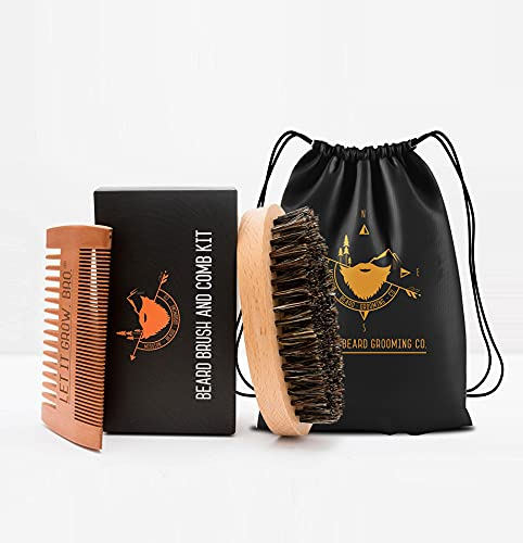 MISSION BEARD GROOMING CO. Set bestehend aus Bartbürste aus 100% Wildschweinborsten und Bartkamm | Entfernt...