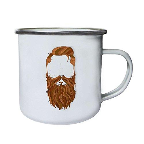 INNOGLEN Geheime Männer mit dem Ingwer Bart und Schnurrbart Retro, Zinn, Emaille 10oz/280ml Becher Tasse m2e
