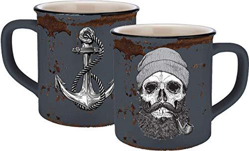 infinite by GEDA LABELS (INFKH) 13660 Totenkopf Sailor Skull Emaille-Optik Tasse, Keramiktasse, Kaffeetasse,...